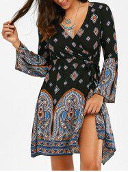 Vintage Print High Slit Short Surplice Dress - Multicolore