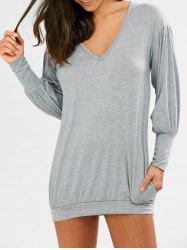 V Neck Long Sleeve Tunic Casual Dress
