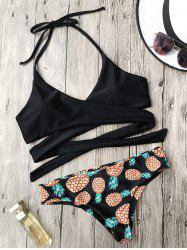 Pineapple Print Wrap Bikini Set - BLACK