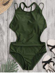 Back Strappy Padded Swimwear - ARMY GREEN