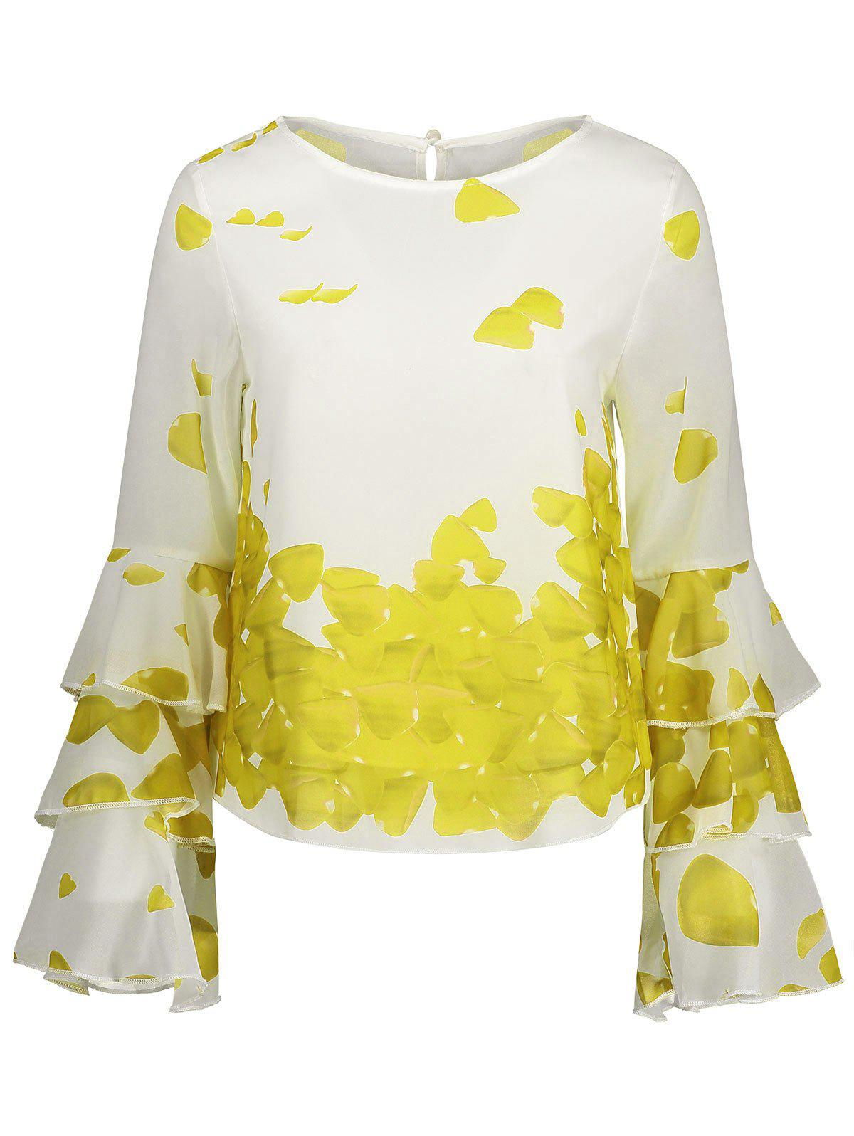 Trendy Bell Sleeve Layer Printed Blouse