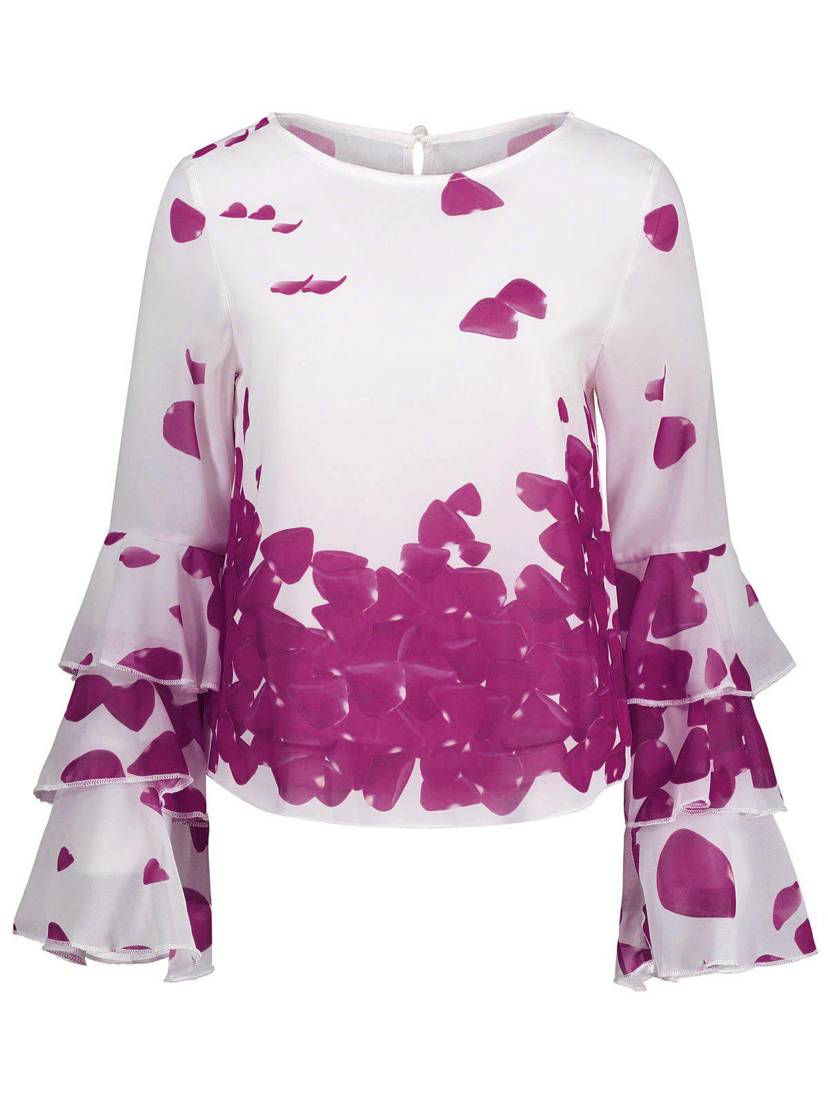 Buy Bell Sleeve Layer Printed Blouse