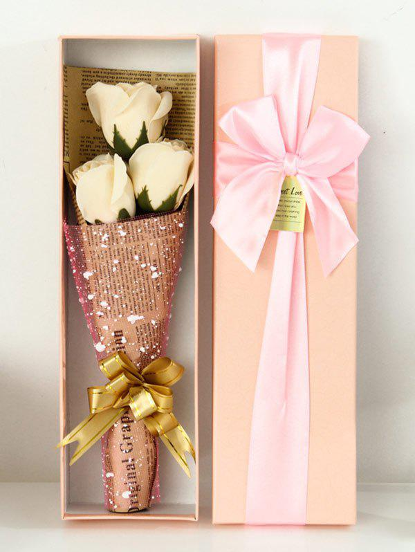Simulation Rose Soap Flowers Bouquet Festival GiftHOME<br><br>Color: CHAMPAGNE; Plant Type: Rose; Material: Soap; Included Product: Box; Length: 30CM; Width: 10CM; Height: 5CM; Weight: 0.4092kg; Package Contents: 1 x Flower ?Bouquet?1 x Gift Box;