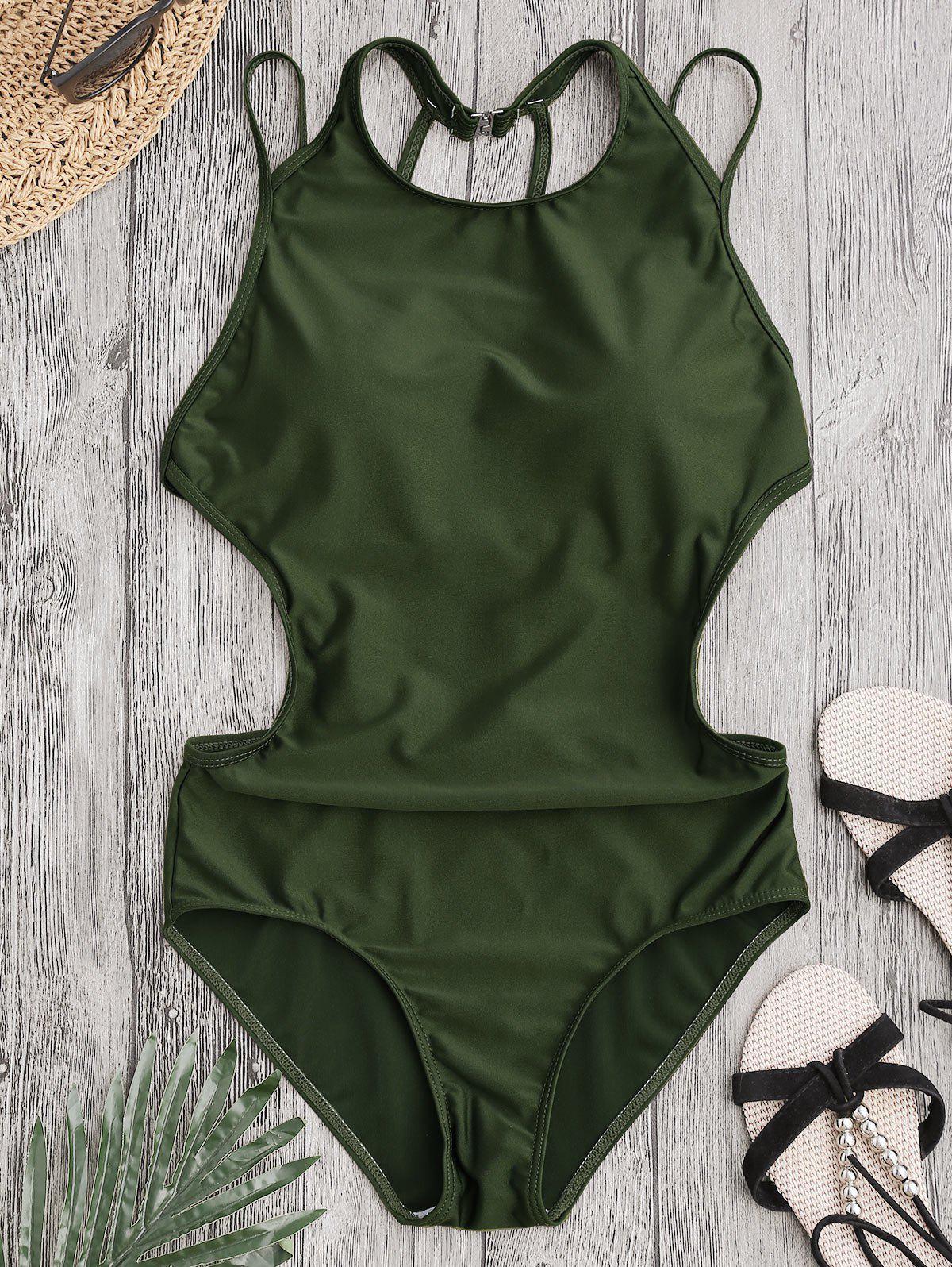 Back Strappy Padded SwimwearWOMEN<br><br>Size: M; Color: ARMY GREEN; Swimwear Type: One Piece; Gender: For Women; Material: Chinlon,Spandex; Bra Style: Padded; Support Type: Wire Free; Neckline: Round Collar; Pattern Type: Solid Color; Waist: Natural; Elasticity: Elastic; Weight: 0.2200kg; Package Contents: 1 x Swimwear;
