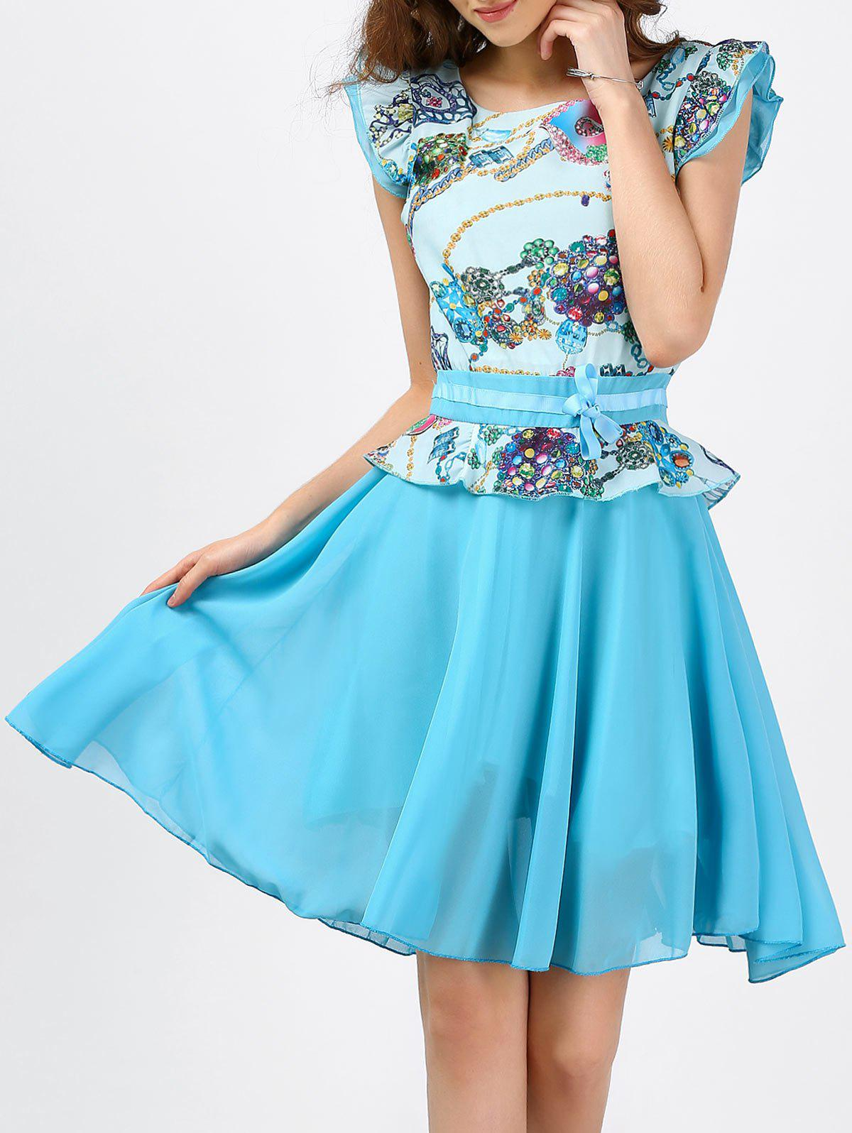 Discount Printed Ruffle Chiffon Dress