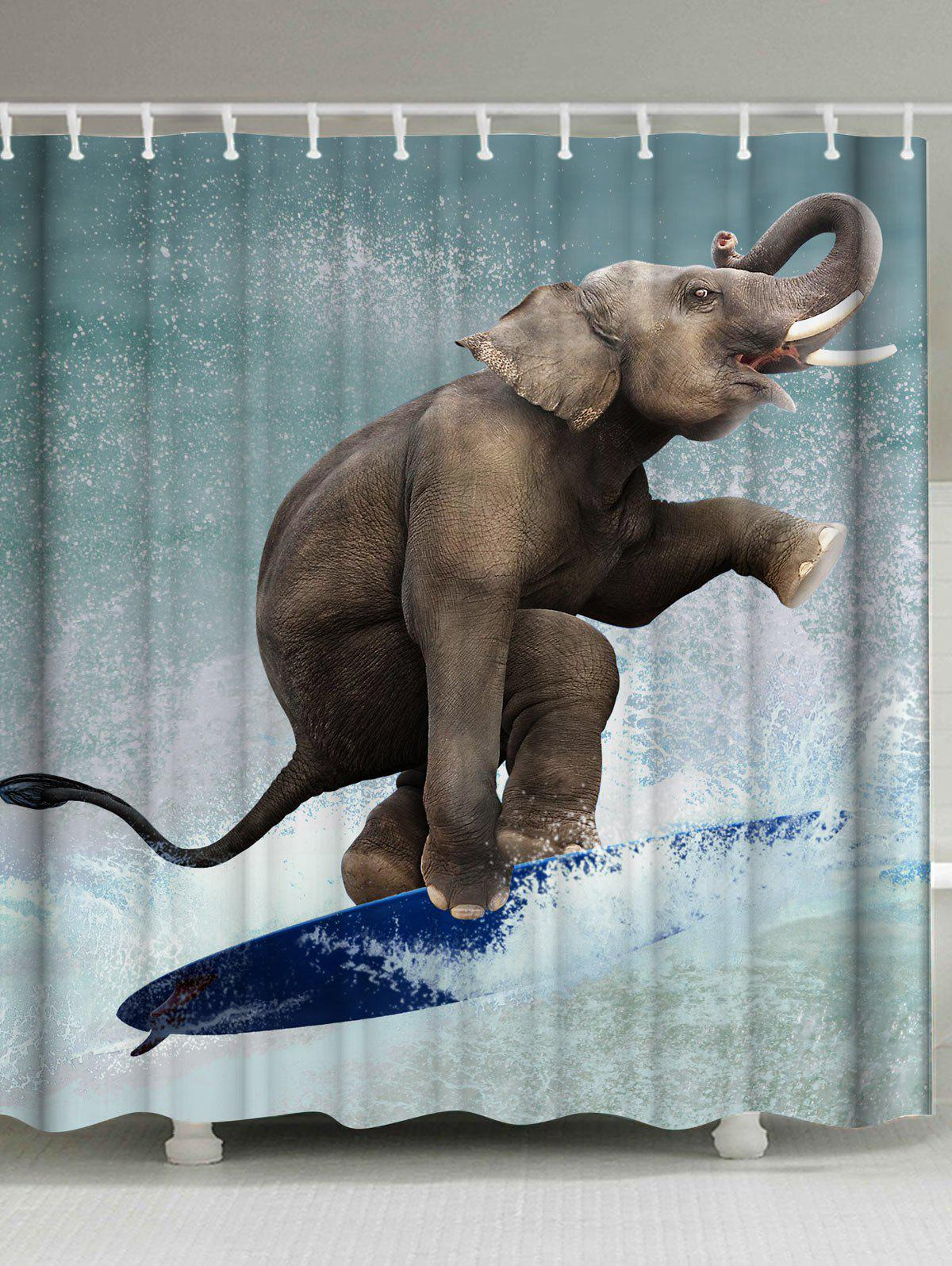 Affordable Waterproof Fabric Surfing Elephant Shower Curtain