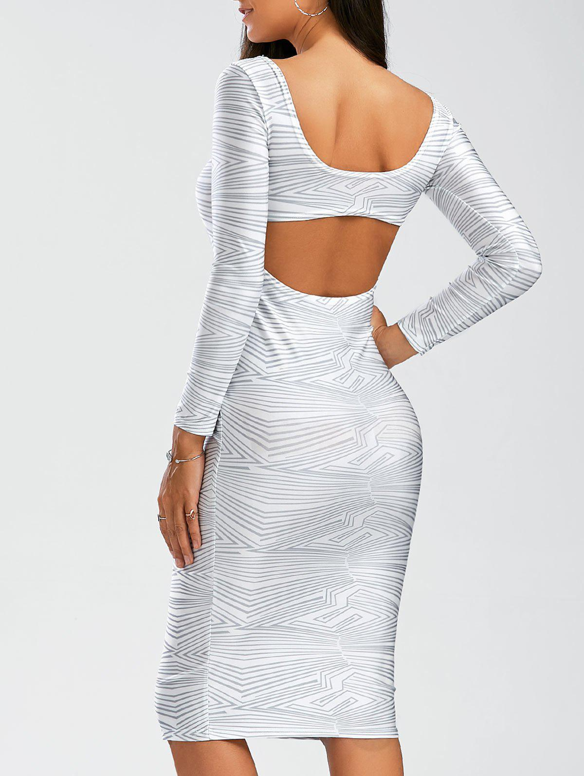 Backless Long Sleeve Sheath Tight DressWOMEN<br><br>Size: M; Color: WHITE; Style: Sexy &amp; Club; Material: Polyester; Silhouette: Sheath; Dresses Length: Knee-Length; Neckline: Scoop Neck; Sleeve Length: Long Sleeves; Pattern Type: Print; With Belt: No; Season: Fall,Spring; Weight: 0.245kg; Package Contents: 1 x Dress;