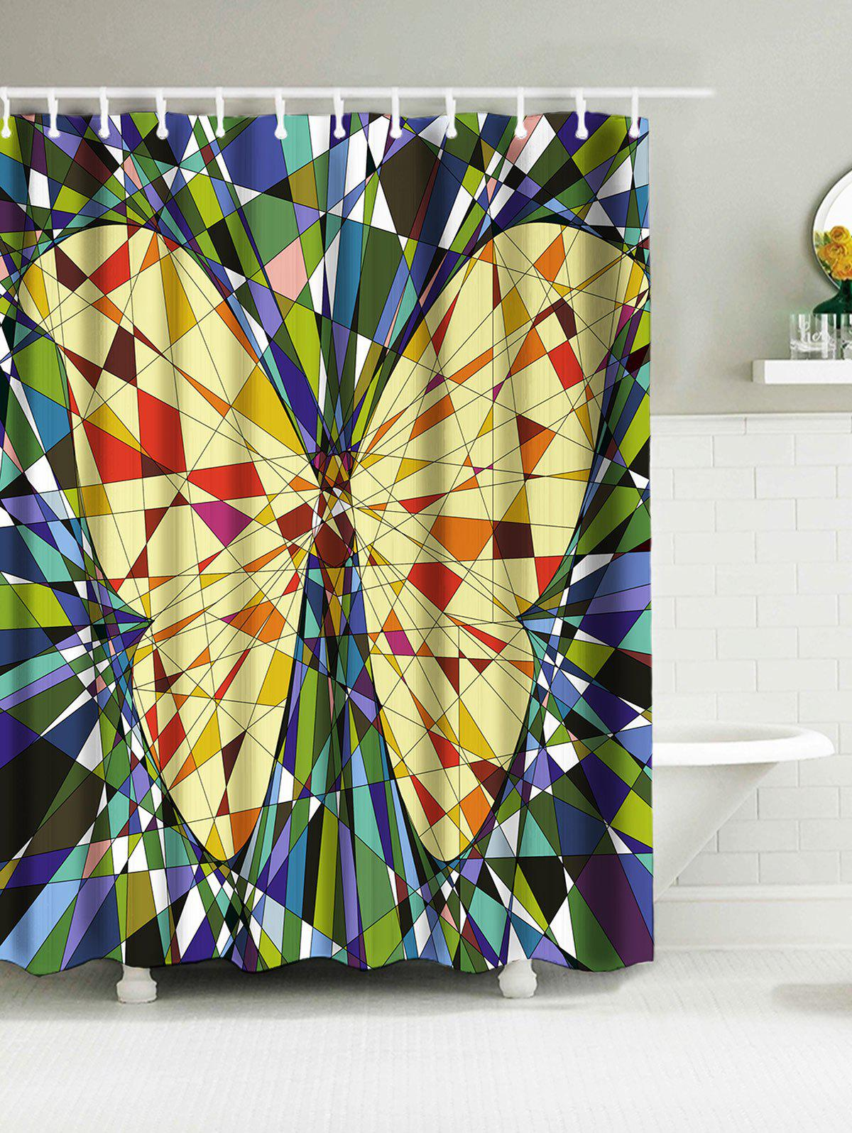 Fragment Insert Butterfly Print Waterproof Fabric Shower Curtain