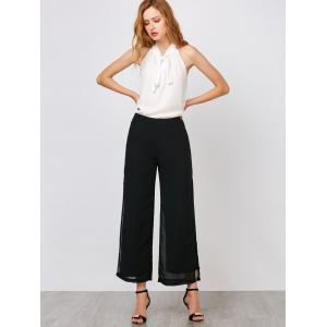 Chiffon Flowy Slit Wide Leg Palazzo Pants - BLACK XL