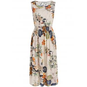 Plants Print Elastic High Waist Midi Dress - Off-white - One Size