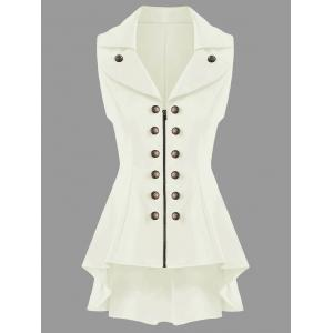 Double Breast High Low Lapel Dressy Waistcoat - Off-white - Xl