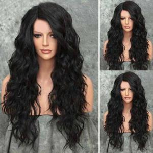 Shaggy Side Parting Long Wavy Heat Resistant Synthetic Wig - Natural Black - 24inch