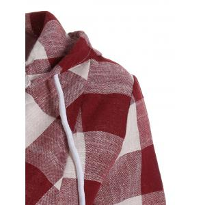 Plaid Kangaroo Pocket Hoodie - RED S