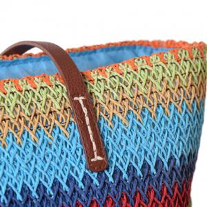 Woven Color Blocking Beach Bag - ROSE RED