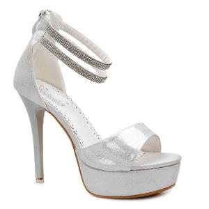 Glitter Platform Stiletto Heel Sandals - Silver White - 38