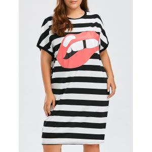 Plus Size Striped Lips Printed T-Shirt Dress