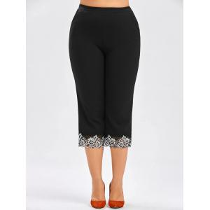 Pantalon élastique taille grand taille cropped
