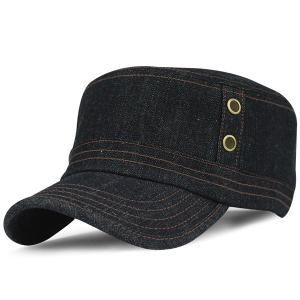 Outdoor Sunscreen Denim Flat Top Hat - Black