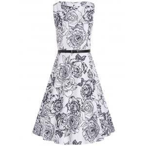 Handpainted Flower Print Belted Sleeveless Flare Dress