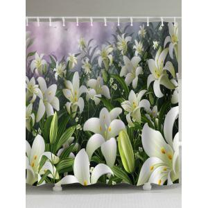 Pastoral Lily Flowers Fabric Shower Curtains - Colormix - W71 Inch * L79 Inch