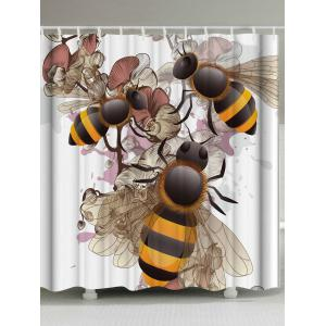 Unique Floral Bee Shower Curtain with Hooks - Colormix - W71 Inch * L79 Inch