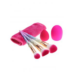 Brush Egg Towel Makeup Brushes Set With Sponge Puff - MULTICOLOR