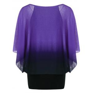 Ombre Butterfly Sleeve Plus Size T-Shirt - PURPLE XL