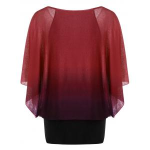 Ombre Butterfly Sleeve Plus Size T-Shirt - CLARET XL