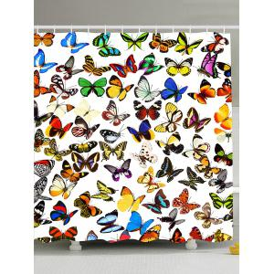 Colorful Butterfly Waterproof Fabric Shower Curtain - Colorful - W71 Inch * L71 Inch
