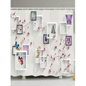 Butterfly Flower Photo Frame Shower Curtain