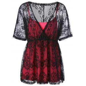 Plus Size Lace Blouse with Camisole - Red With Black - 3xl