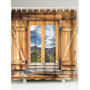 Wood Window Landscape Fabric Shower Curtain - Brown - W71 Inch * L71 Inch