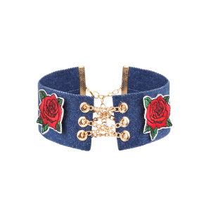 Alloy Chain Denim Flower Embroidery Choker Necklace
