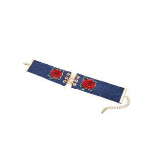Alloy Chain Denim Flower Embroidery Choker Necklace - DENIM BLUE