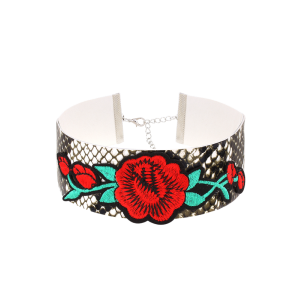 Embroidery Flower Snake Pattern Choker Necklace - Multicolor