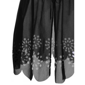 Tie Front Scalloped Plus Size Cover-Ups - BLACK 2XL