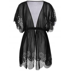 Tie Front Scalloped Plus Size Cover-Ups