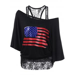 Lace Insert Skew Neck American Flag T-Shirt - Black - 2xl