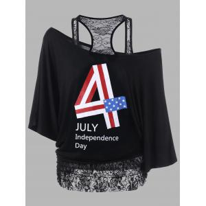 Lace Trim Plus Size Funny 4th of July T-Shirts - Black - 5xl
