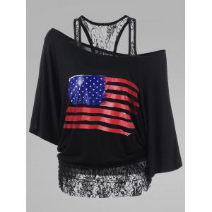 Lace Insert Plus Size American Flag T-Shirt - Black - 5xl