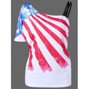 Plus Size Patriotic One Shoulder Distressed American Flag T-Shirt - White - 4xl