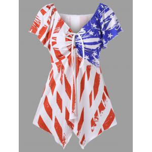 Distressed American Flag Plus Size Swing Top - White - 5xl