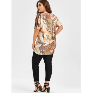 Map Printed Plus Size Tunic Top - COLORMIX 5XL