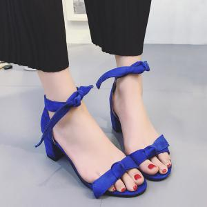 Block Heel Tie Up Knot Sandals - Blue - 38