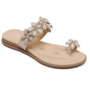 Rhinestone Flower Toe Ring Flat Slippers