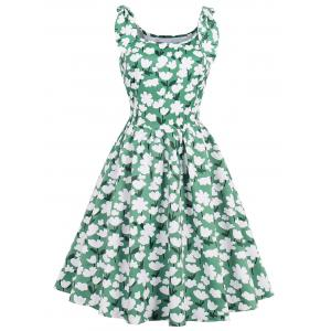 Vintage Floral Going Out Tea Dress - White And Green - 2xl