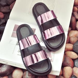 Faux Leather Platform Slippers - PINK 39