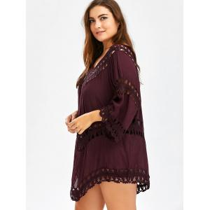 Wine Red One Size Plus Size Crochet Openwork Cover-up ...