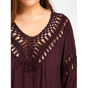 Plus Size Crochet Openwork Cover-Up - WINE RED ONE SIZE