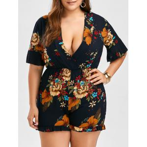 Plus Size Floral Chiffon Romper - Purplish Blue - 5xl